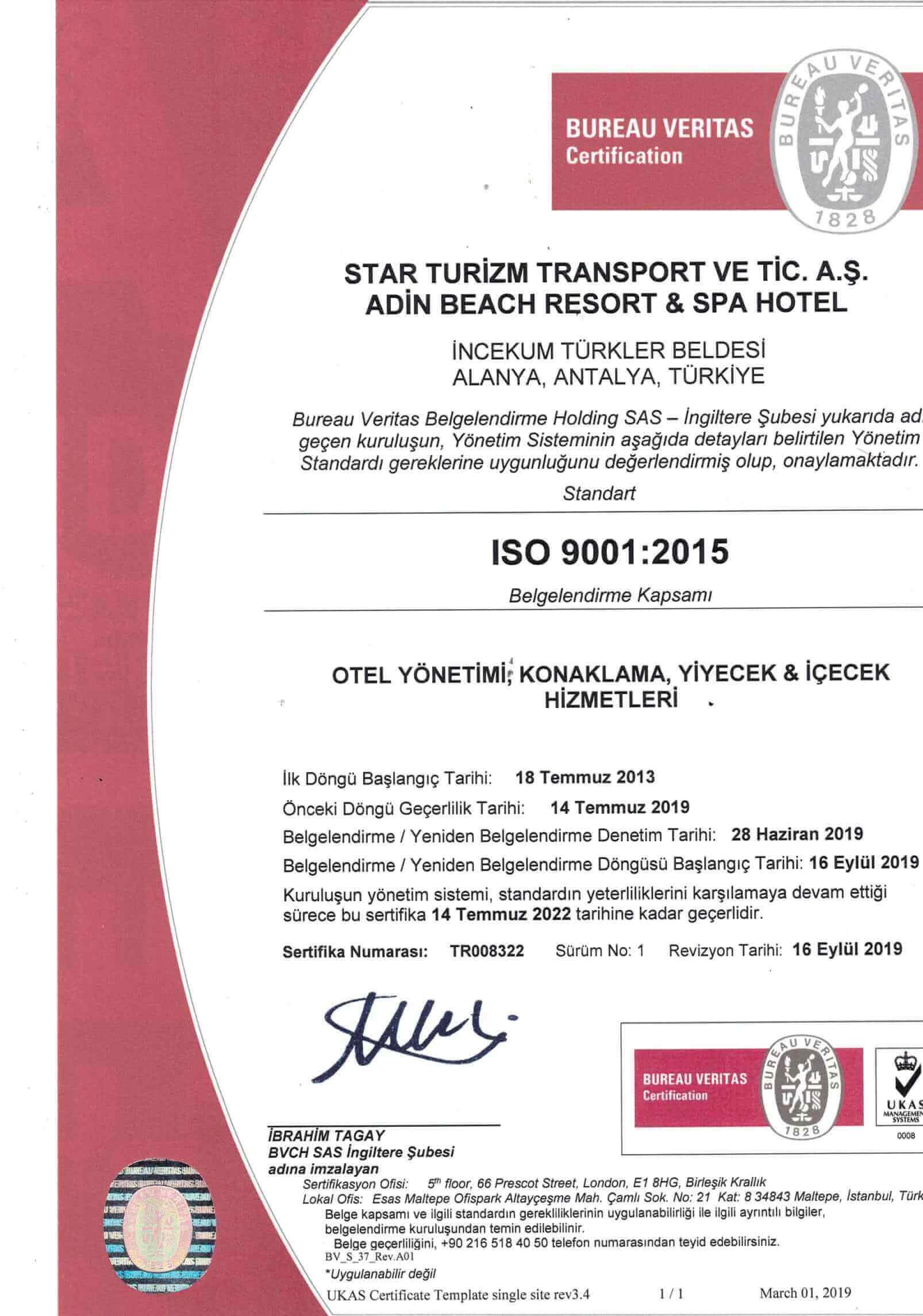 İSO 9001 belge 1. sayfa
